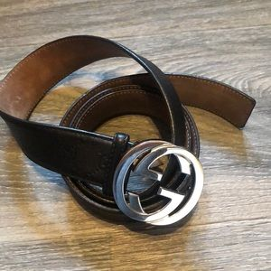 Gucci Men's Belt Black with Silver buckle